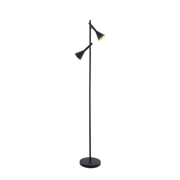 Pie de salon Liniers – lampara de pie – EGLO – acero negro y dorado – Liderlamp
