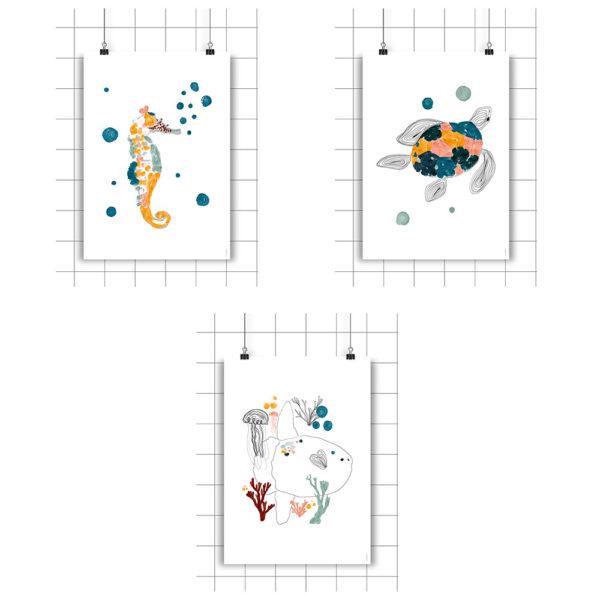 Set de 3 laminas A5 – Amayadeeme – caballito de mar – ballena – estrella – Liderlamp (2)