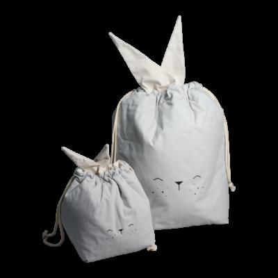 Bolsa de algodon gris - conejito - almacenaje infantil - Fabelab - Liderlamp (1)