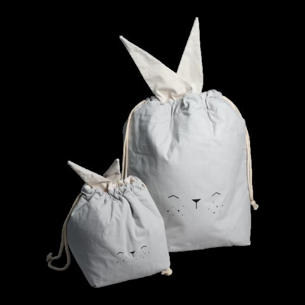 Bolsa de algodon gris – conejito – almacenaje infantil – Fabelab – Liderlamp (1)