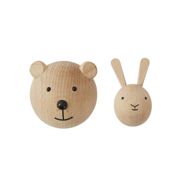 Colgador animales – oso – conejo – madera color natural – oyoy – Liderlamp (7)