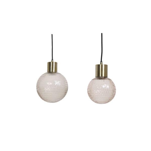 Colgante Dony – esfera de cristal rosa – bronce – Casa Caracol – Liderlamp (1)
