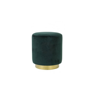 Pouf Nadien - Ligth and Living - terciopelo verde - New Mid Century - Liderlamp