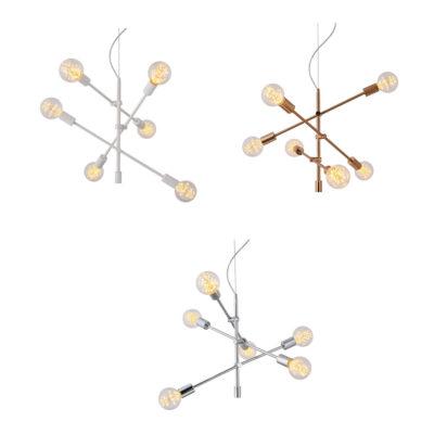 Colgante Ceres - bronce - blanco - acero - 6 luces - Eskriss