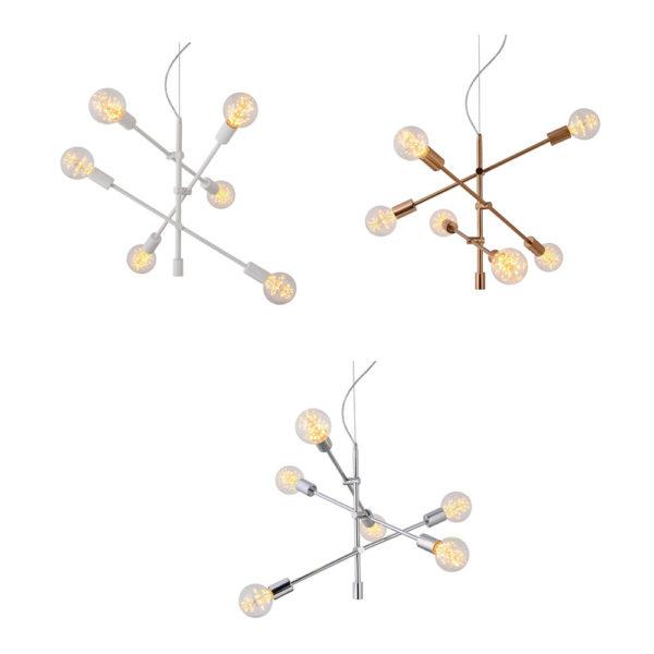 Colgante Ceres – bronce – blanco – acero – 6 luces – Eskriss – Liderlamp (3)
