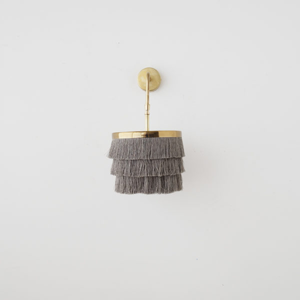 Aplique Falla – lámpara flecos – dorado – cable trenzado