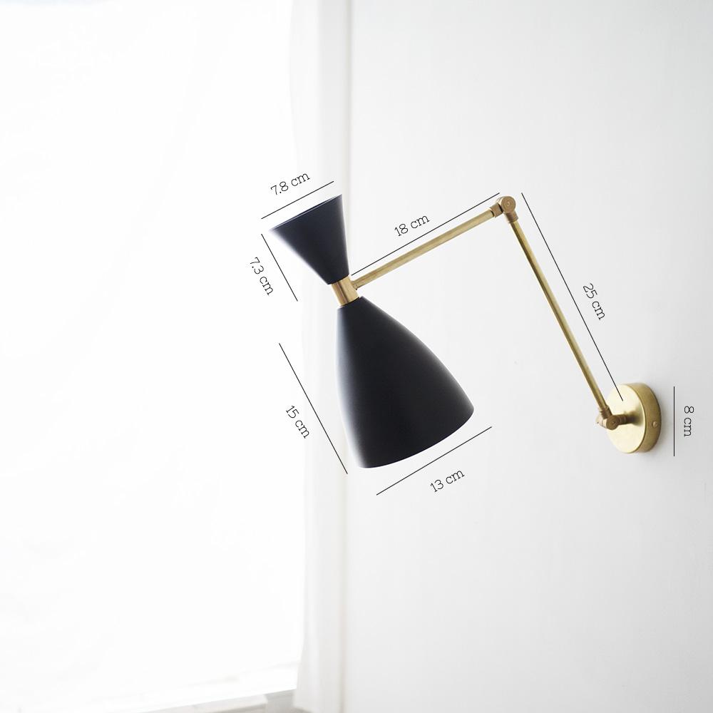 Aplique London - New Mid Century - laton natural - luz lectura - medidas - Liderlamp