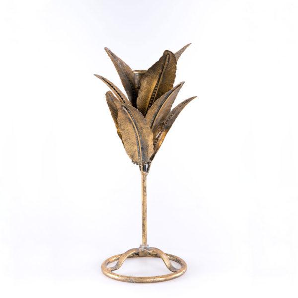 Candelabro Samui - estilo tropical - hojas - dorado envejecido - Gajisa - Liderlamp