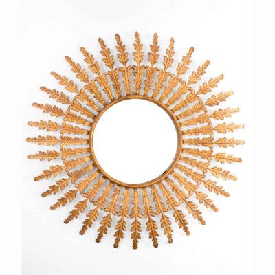 Espejo Pireo - hojas - botanico - dorado envejecido - solar - Gajisa - Liderlamp (1)