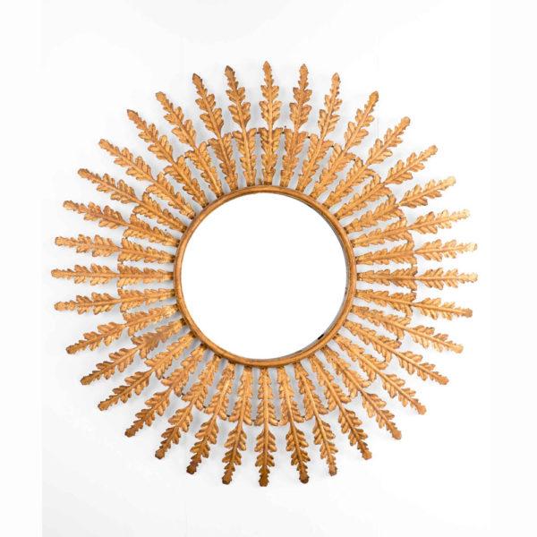 Espejo Pireo – hojas – botanico – dorado envejecido – solar – Gajisa – Liderlamp (1)