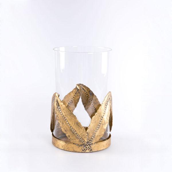 Portavelas Lanta – cristal y metal dorado – decoracion – Gajisa – Liderlamp