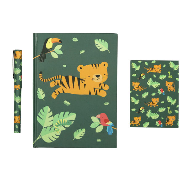 Set papeleria – Jungle Tiger – cuaderno – boligrafo – A little lovely company – Liderlamp (1)
