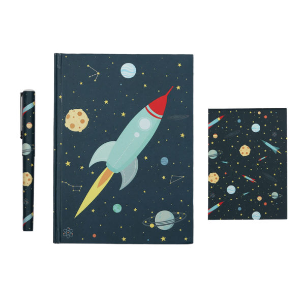 Set papeleria – Space – cuaderno – boligrafo – A little lovely company – Liderlamp (2)