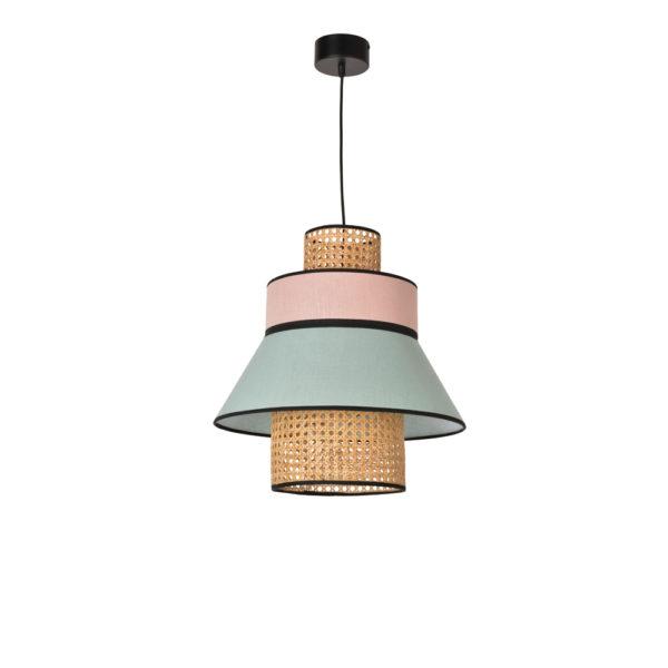 Colgante Singapur – rejilla y lino – cannage – lampara de techo – Liderlamp (1)