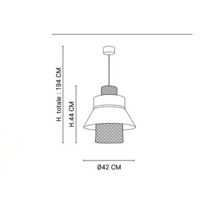Colgante Singapur - rejilla y lino - cannage - lampara de techo - Liderlamp (1)