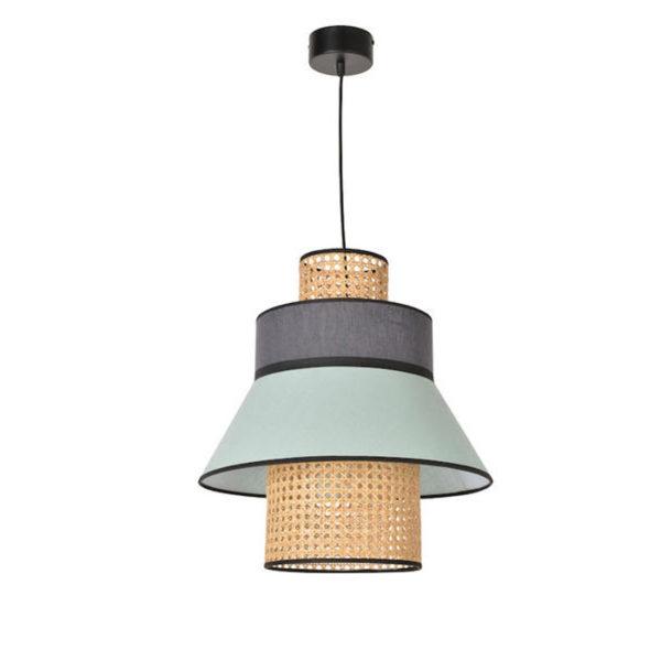 Colgante Singapur – rejilla y lino – cannage – lampara de techo – dark grey – Liderlamp (2)