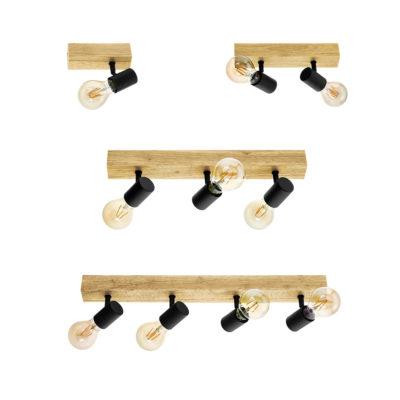Focos Sicilia - base de madera - color negro - apliques - techo - Eglo - Liderlamp (1)