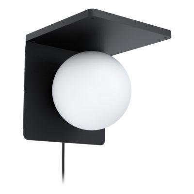 Aplique Calipso - acero negro - esfera cristal opal - cargador IQ - EGLO - Liderlamp