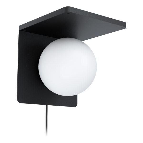 Aplique Calipso – acero negro – esfera cristal opal – cargador IQ – EGLO – Liderlamp