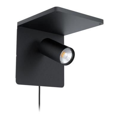 Aplique Keller - acero negro - foco - luz auxiliar - EGLO - Liderlamp - Liderlamp