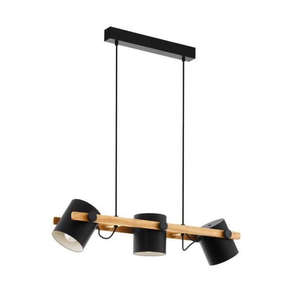 Colgante Elmut – acero y madera – 3 luces – negro – Eglo – Liderlamp