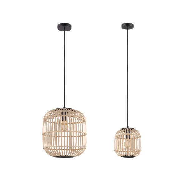 Colgante Linzo – acero y madera – natural chic – neutrals – Eglo – Liderlamp (1)