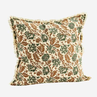 Funda de cojín flores verdes - madam slotz - decoración textil