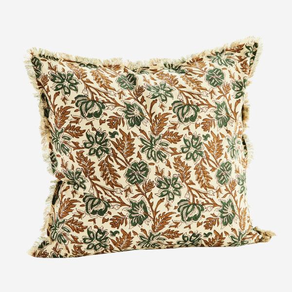 Funda de cojin flores verdes – madam slotz – decoracion textil – Liderlamp