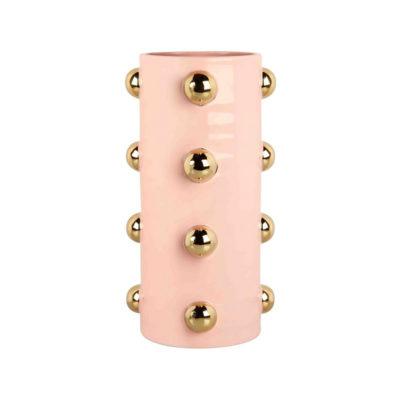 Jarron Dots - ceramica - rosa y dorado - florero - regalo flores - Liderlamp (1)