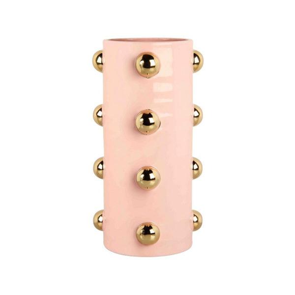 Jarron Dots – ceramica – rosa y dorado – florero – regalo flores – Liderlamp (1)