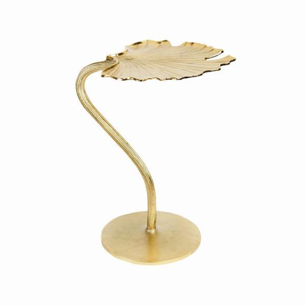 Mesa auxiliar Gingko – dorado – decoracion vegetal – mesa de cafe – salon – Liderlamp