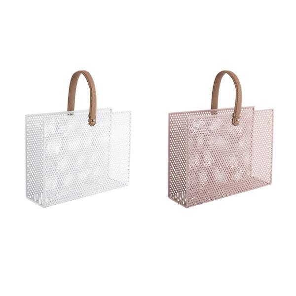 Revistero Perky – metal – blanco y rosa – asa de piel – Leitmotiv – Liderlamp (1)