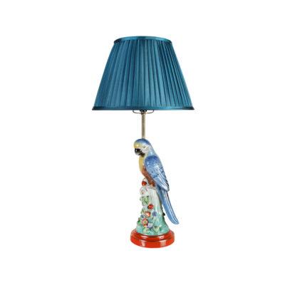 Sobremesa Parrot - Azul - Klevering - Tropical - Ceramica - Pantalla textil - Liderlamp