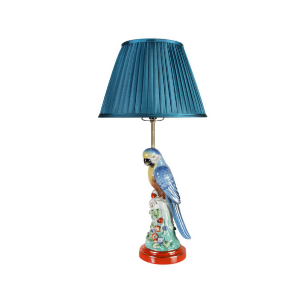 Sobremesa Parrot – Azul – Klevering – Tropical – Ceramica – Pantalla textil – Liderlamp
