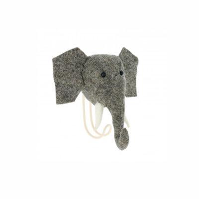 Cabeza de Elefante de fieltro - gancho - almacenaje pared - Fiona Walker - Liderlamp (4)