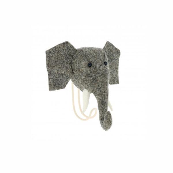 Cabeza de Elefante de fieltro – gancho – almacenaje pared – Fiona Walker – Liderlamp (2)