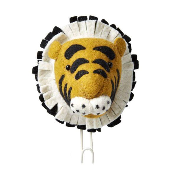 Cabeza de Tigre de fieltro – gancho – almacenaje pared – Fiona Walker – Liderlamp (1)