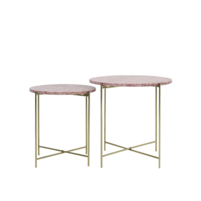 Mesita Armitage - mármol rosado - metal dorado - mueble auxiliar