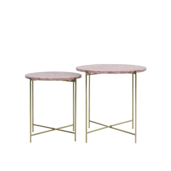 Mesita Armitage – marmol rosado – metal dorado – mueble auxiliar – Liderlamp (2)