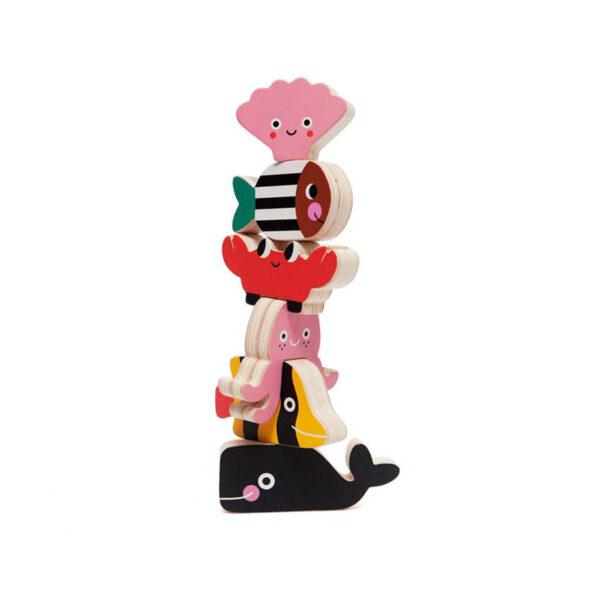 Apilable animales oceano – juegos ninos – madera – Petit Monkey – Liderlamp (1)