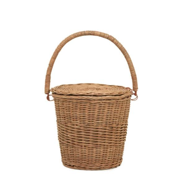 Cesta con tapa – almacenaje – ratan – tapa y asa – cesto redondo – Olli Ella – Liderlamp (1)