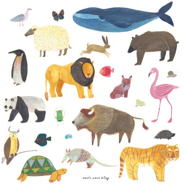 Lamina Animals – Marta Abad Blay – Ilustracion – Decoracion mural – Liderlamp (1)