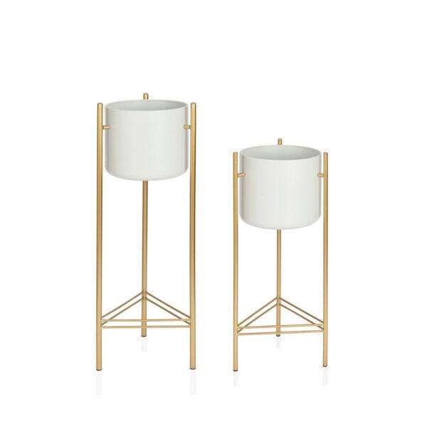 Macetero Musa - pie de maceta - dorado y blanco - Andrea House - Liderlamp (1)