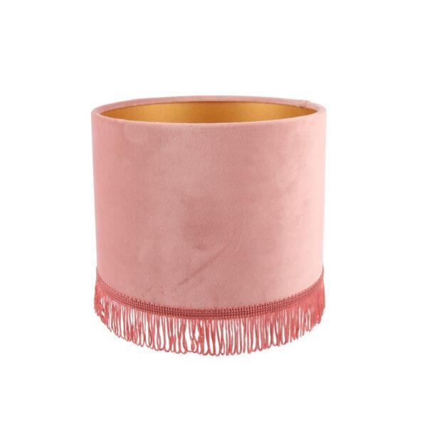 Pantalla Breda – terciopelo – rosa – flecos – Dutch Style – Liderlamp