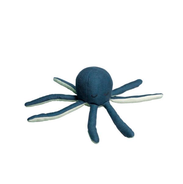 Sonajero pulpo - mostaza - algodon organico - regalo bebe - Fabelab - Liderlamp (1)