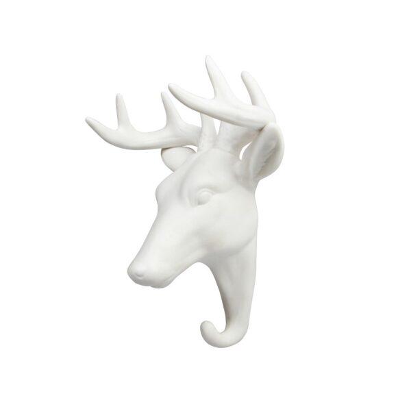 Gancho Ciervo porcelana blanca – dorado – colgador – recibidor – &Kleveling – Liderlamp