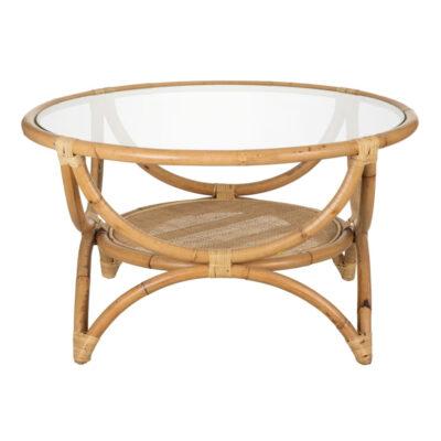 Mesa auxiliar Tura - ratan y cristal - color natural - mesa centro - Denzzo - Liderlamp (1)