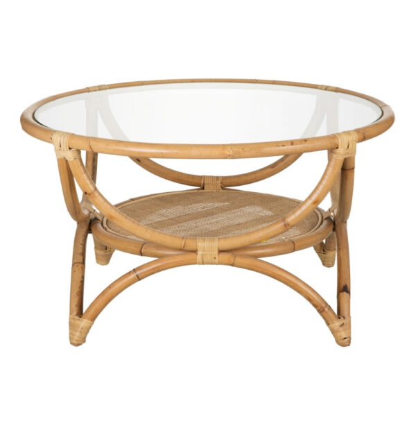 Mesa auxiliar Tura – ratan y cristal – color natural – mesa centro – Denzzo – Liderlamp (1)