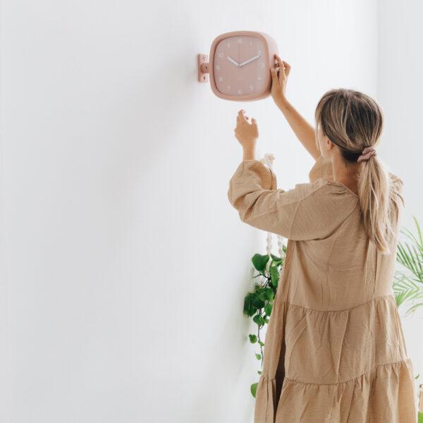 Reloj de pared Doubler – Present Time – rosa – analogico – decoracion – Liderlamp 1