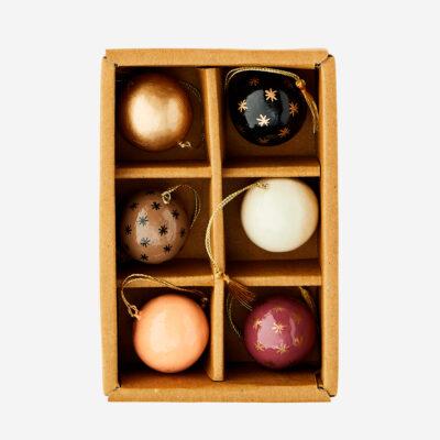 Set de 6 bolas de papel mache - adorno - bola de navidad - Madam Stoltz - Liderlamp (1)